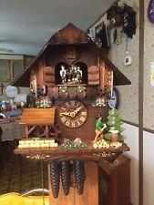 Vintage Rare  Schneider Musical Dancer Waterwheel WoodChop Chalet Cuckoo Clock