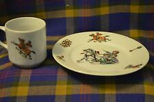 Unique Vtg KPM Made in Germany Child's Plate & Cup w/Children Riding in Sleigh