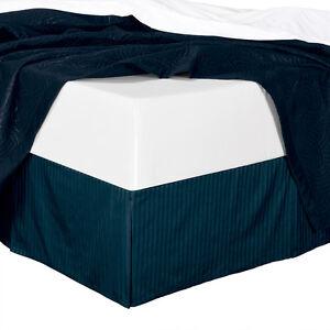 "King Size 300TC Cotton Split Corners Damask Stripe Bed Skirts with 14"" Drop"