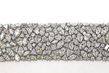 Wide Multi Shape Diamond Cluster Carpet Tennis Bracelet 14K White Gold 58.63Ct