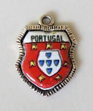 PORTUGAL Vintage Silver Enamel Travel Shield Charm RARE