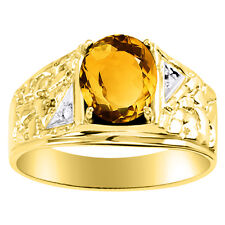 Diamond & Citrine Ring Sterling Silver or Yellow Gold Plated November Birthstone