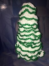 "13"" Crochet Christmas Tree Handmade Holiday Craft Decoration Green White Yarn"