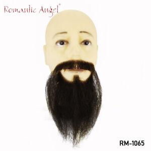 100% Human Hair Handmade High quality Ducktail false mustache beard black color