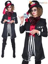 Dark Mad Hatter Costume Men Ladies Alice In Wonderland Fancy Dress Couples Film