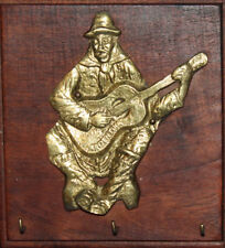 Hand Made Brass/Wood Wall Decor Hanger Guitar Player