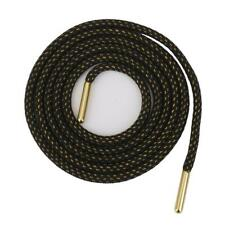 Black Strong Shoelaces w/Gold Metal Tip for Hiking Skate Boots Shoe Laces·