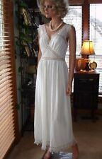 Vtg 40s 50s Bridal White Nylon & Lace Fitted Waist Nightgown Dress Lingerie 34