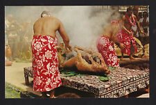c1958 Nani Li'i Luau Pig cooked with hot stones in Imu Oven Hawaii postcard