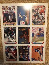 1993 Topps Baseball Pre-Production 9 Card Uncut Sheet-Griffey,Dawson,Alomar