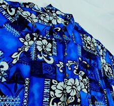 ME Sport Floral Tribal Blue Hawaiian Camp Aloha Shirt Sz XXL