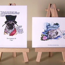 2 ACEOs whos who of pugs from a pug of the Emperor to Marie Antoinette mini art