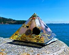 Vortex Black Tourmaline & Rose Quartz Orgone Energy Pyramid .