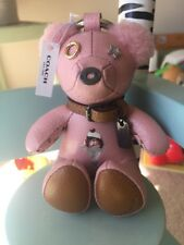 """NEW SOLD OUT COACH LEATHER PINK 4"""" ICE CREAM BEAR KEY CHAIN/FOB WITH TAG"""