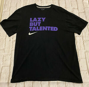 Nike XL Lazy But Talented Graphic T Shirt Short Sleeve Standard Fit Black