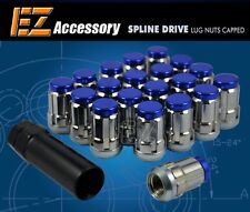 20 Pc Set Capped Spline Drive Lug Nuts ¦ Blue ¦ 12x1.5 ¦ Dodge Ford T-Bird Focus