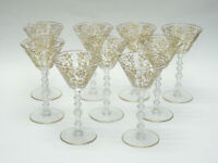 """VERY RARE LOT of 9 DIANE CLEAR GOLD ENCRUSTED BY CAMBRIDGE WINE GLASS GOBLET  6"""""""