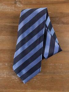 ERMENEGILDO ZEGNA blue striped silk tie authentic - NWT