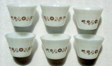 Set of 6 Vintage Dynaware Custard Cups Brown Daisy Flower