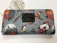 Loungefly Harry Potter Gray Zipper Wallet Wand, Hat, Hogwarts, Broom