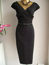 Superbe Monsoon Noir Esha Floral Jacquard Dentelle Bijou Perles Shift Dress 20