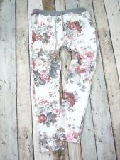 BAGGY JOGPANT JOGGING FREIZEIT HOSE SWEAT PANTS BLUMEN 36 38 40 Creme Weiß (H42)