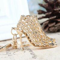 Crystal Shoe High Heel Keyring Pendant Key Bag Chain Ring Keychains Supply Gift