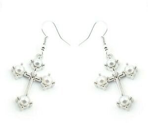 Pearl Silver Cross Womens Ladies Earrings Jewellery Gift Christian Catholic