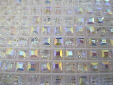 24 Swarovski Cube Beads in 6mm Crystal AB. #5601