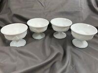Vintage Milk Glass Sherbert Cups - Grapes and Grape Leaves - Stemmed - Set of 4