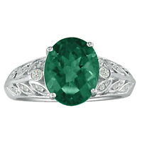 14K WHITE GOLD 1 1/2CT BEAUTIFUL OVAL EMERALD AND DIAMOND RING, SIZE-8, 9