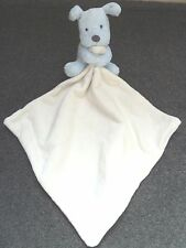 M&S Marks Spencer Cream Blue Puppy Dog Baby Comforter Blankie blanket