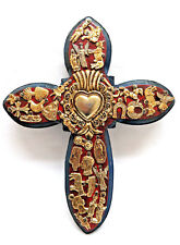 Mexico Metal Milagros Nailed on Wood Folk Art Wall Cross ~ 9""