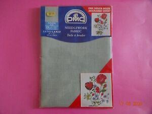 "VAT Free DMC 28 Count Large Cross Stitch Linen Fabric 916 GRAY 20"" x 27"" New"