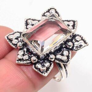 Nice White Topaz Gemstone Handmade Ethnic Gift Jewelry Ring Size 6 G479