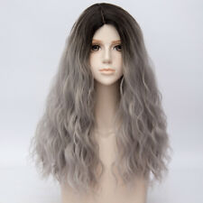 60CM Lolita Ombre Black Grey Long Curly Fluffy Hair Celebrity Party Cosplay Wig