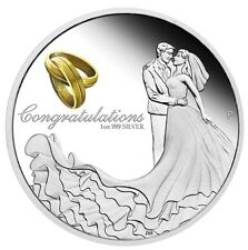Australia 2017 WEDDING 1 OZ SILVER proof COIN w/ Crystal Embellishment Box GIFT
