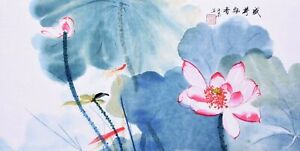100% ORIGINAL FINE ART CHINESE FAMOUS FLORAL WATERCOLOR PAINTING-Lotus flowers