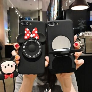 Doll Happy Mouse Bowknot Soft Black Case Cover for Samsung MIRROR Stand Strap