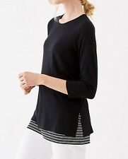 NEW - J. Jill - L(16/20) - Perfect Black Crew-neck Top with Two Ultrasoft Layers