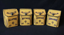 4 VINTAGE PAINTED TIN SPICE CONTAINERS-ALLSPICE, CINNAMON, GINGER, NUTMEG
