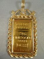 HEAVY 24KT 999.9 FINE GOLD BAR 5G CREDIT SUISSE DIAMOND 14KT NECKLACE PENDANT