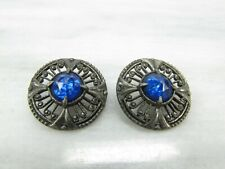 """Vintage PEWTER Shank BUTTONS BLUE RHINESTONE 1 1/4"""" Metal Button Round Lot of 2"""