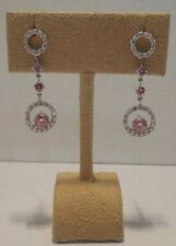 14K White Gold-1.03 Ct Chatham Pink Diamond+.56 Ct White Diamond Dangle Earrings