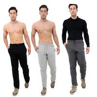 MENS JOGGING FLEECE BOTTOMS JOGGERS WARM TRACKSUIT OPEN HEM BOTTOM SWEAT PANTS