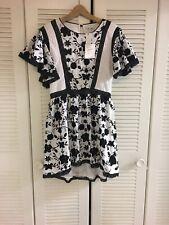 NWT$398 Joie Gaetena Retro Cotton Gauze Embroidered Mini Dress Hi-low Sz4