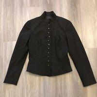 Elie Tahari Womens Size 10 Wool Lycra Blend Button Jacket Black