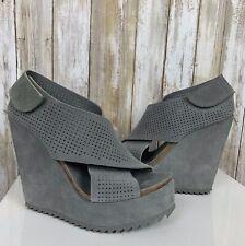 Pedro Garcia Trinidad Wedge Sandals Platform Gray Perforated Suede Shoes 39.5