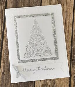 Stampin' Up Christmas Card Kit- Snow Swirled, Silver Glitter, Tree, Snowflake