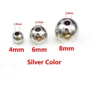 Wholesale Stainless Steel Silver Round Spacer Beads Jewelry Finding Loose Beads
